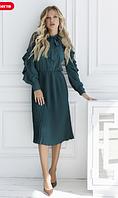 Зеленое плиссированное платье с сетчатыми вставками