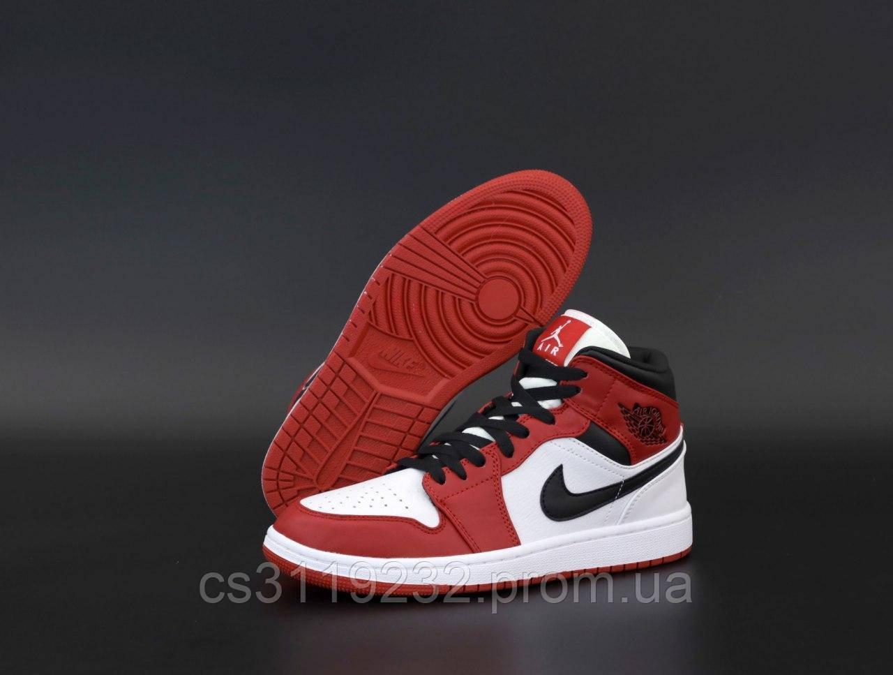 Мужские кроссовки Nike Air Jordan 1 Red (красные)
