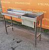 Односекційна мийна ванна з нержавіючої сталі + стіл, 135х40х85 див., Б/в