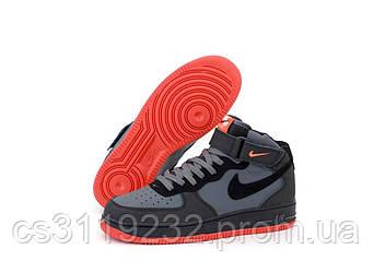 Мужские Кроссовки Nike Air Force High Black Grey Red (Черный)