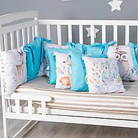 """Комплект в ліжечко бортики - подушки + простынка 13 предметів """"Лісові жителі"""" Lukoshkino (8027LUK-1)"""