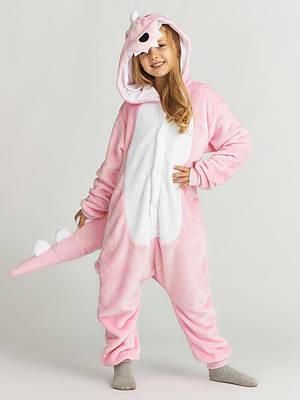 Взрослый Кигуруми - Розовый динозавр - пижама взрослая, пижама теплая серия Premium Velsoft