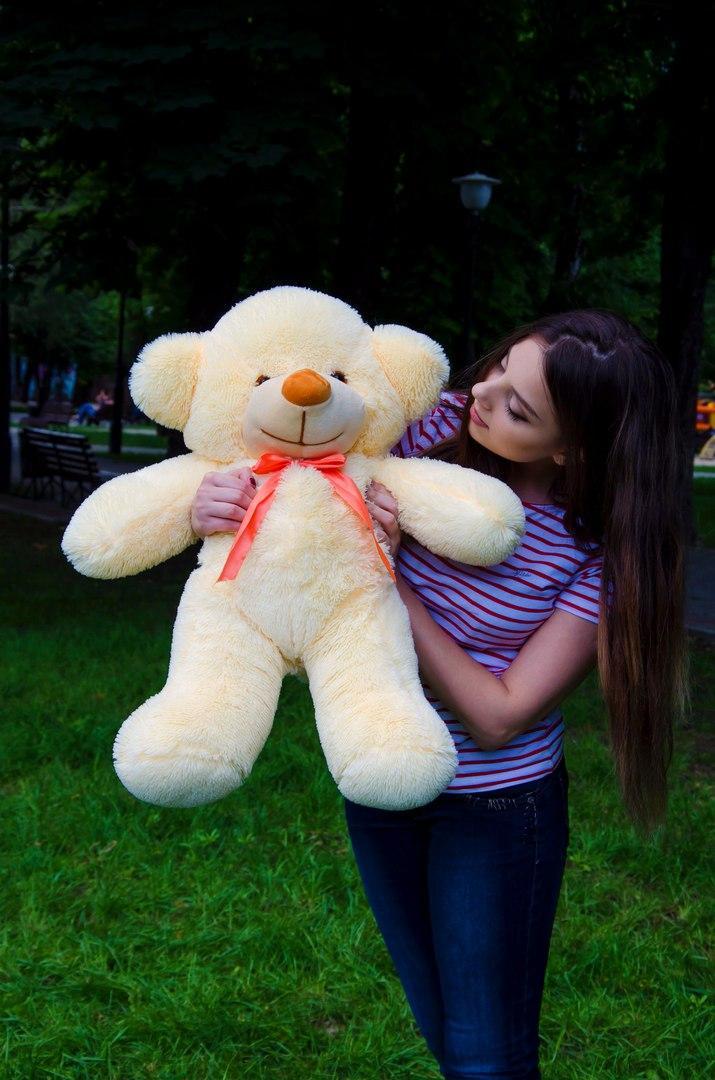 Плюшевий ведмедик Рафаель 80 Персикового кольору, Великий плюшевий ведмедик, плюшевий ведмідь, М'яка іграшка
