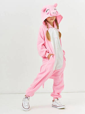 Взрослый Кигуруми - Свинка - пижама взрослая, пижама теплая серия Premium Velsoft