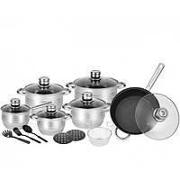 Набор кухонной посуды 18 предметов с 9-слойным дном из нержавеющей стали с стеклянными крышками RB-602