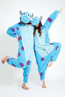 Взрослый Кигуруми - Синий монстр Салли - пижама взрослая, пижама теплая серия Premium Velsoft