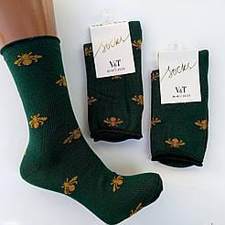 """Женские высокие носки V&T socks с рисунком """"Мухи"""""""