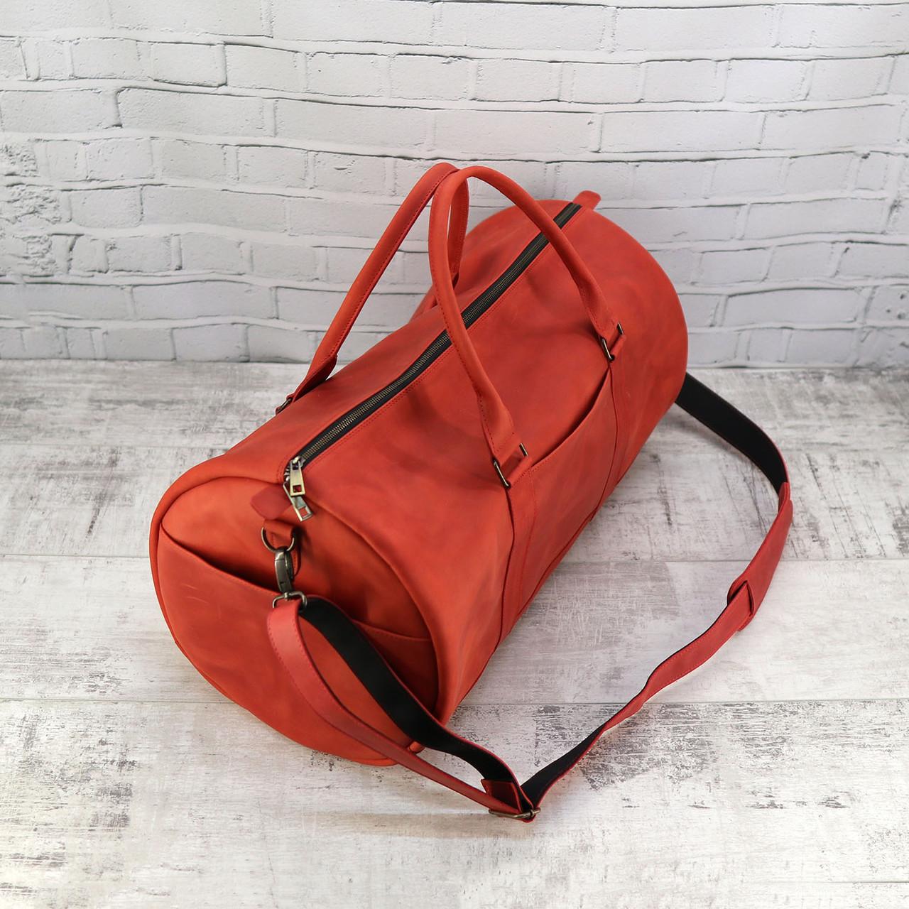 Дорожная сумка tube красная из натуральной кожи crazy horse