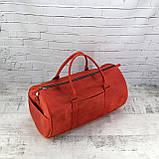 Дорожная сумка tube красная из натуральной кожи crazy horse, фото 3
