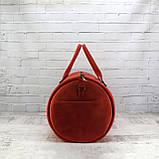 Дорожная сумка tube красная из натуральной кожи crazy horse, фото 4