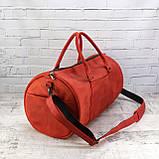 Дорожная сумка tube красная из натуральной кожи crazy horse, фото 5