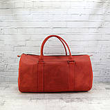 Дорожная сумка tube красная из натуральной кожи crazy horse, фото 6