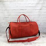Дорожная сумка tube красная из натуральной кожи crazy horse, фото 7