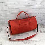 Дорожная сумка tube красная из натуральной кожи crazy horse, фото 8