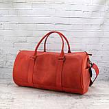 Дорожная сумка tube красная из натуральной кожи crazy horse, фото 9