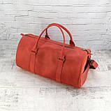 Дорожная сумка tube красная из натуральной кожи crazy horse, фото 10