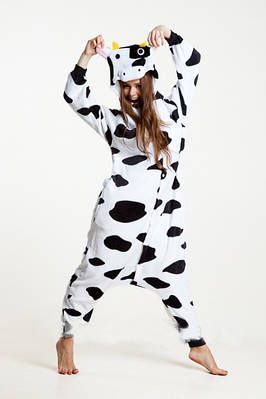 Взрослый Кигуруми - Корова - пижама взрослая, пижама теплая серия Premium Velsoft