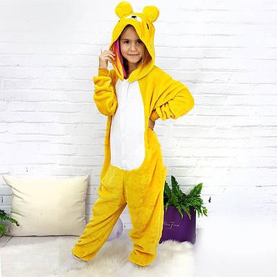 Взрослый Кигуруми - Желтый медведь - пижама взрослая, пижама теплая серия Premium Velsoft