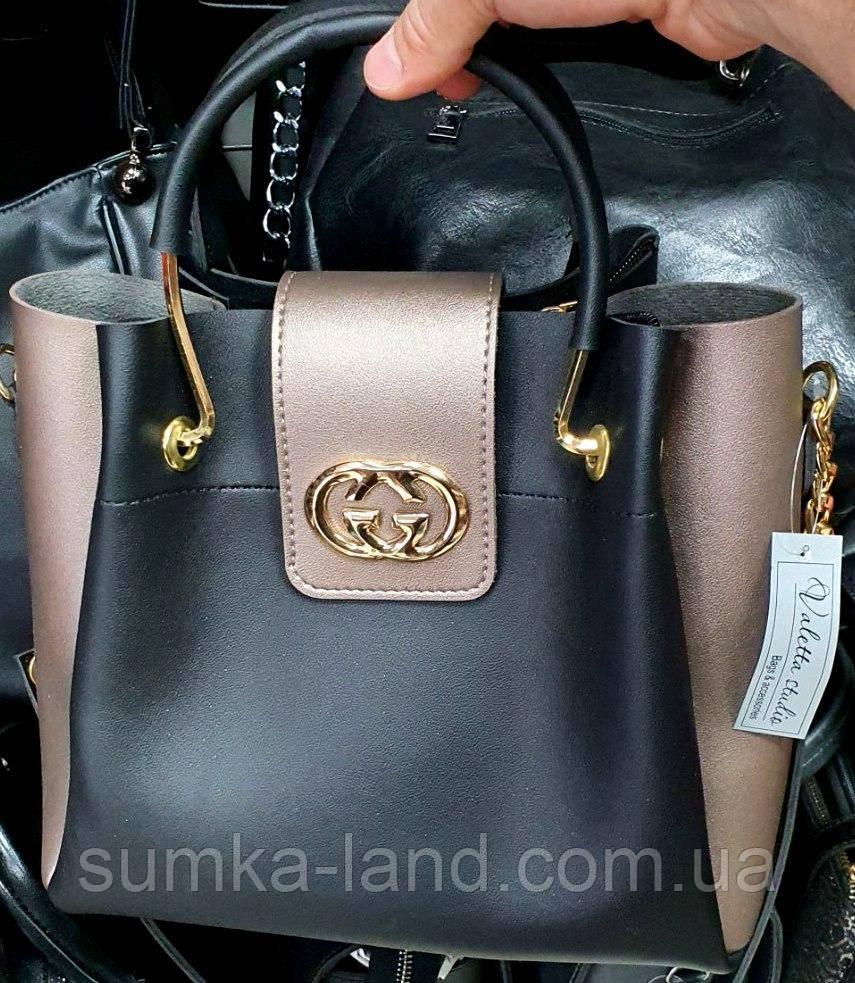 Брендовая женская сумка Gucci черная с бронзовыми боками и клапаном 27*24 см