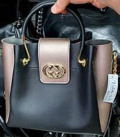 Брендовая женская сумка Gucci черная с бронзовыми боками и клапаном 27*24 см, фото 1