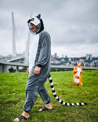Взрослый Кигуруми - Лемур - пижама взрослая, пижама теплая серия Premium Velsoft
