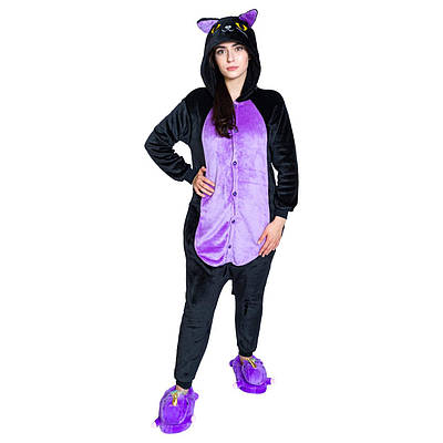 Взрослый Кигуруми - Черная кошка- пижама взрослая, пижама теплая серия Premium Velsoft