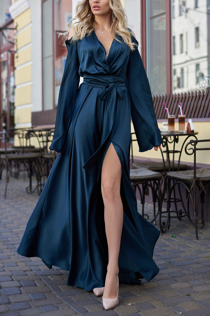 Изумрудное вечернее платье шёлковое