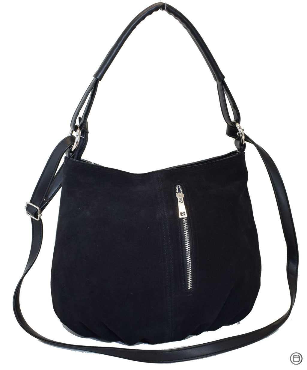 Жіноча замшева сумка 273 чорна