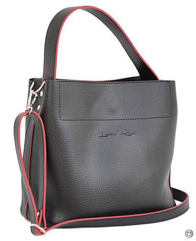 Женская сумка мягкая из кожзама Case 516 черная чн, фото 2