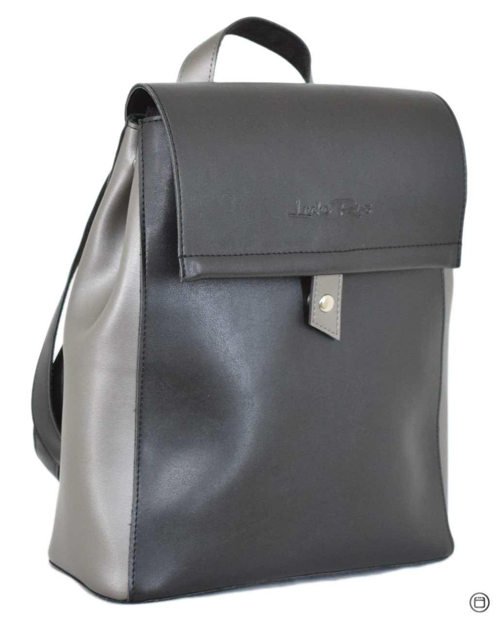 Женский рюкзак экокожа Case 608 черний серебро