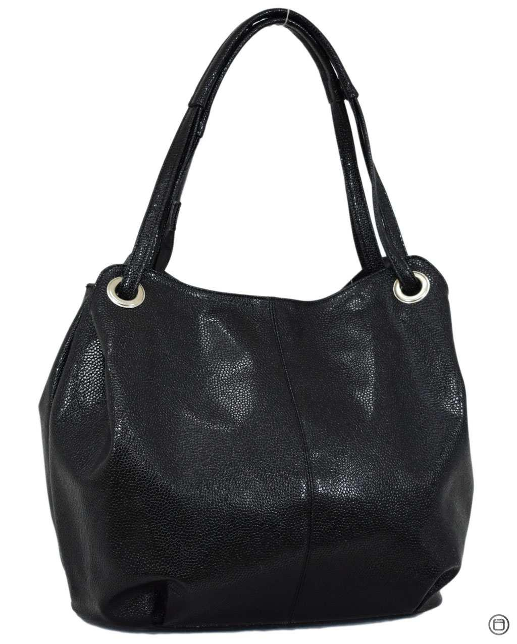 Жіноча містка сумка кожзам 321 пітон чорна ікра