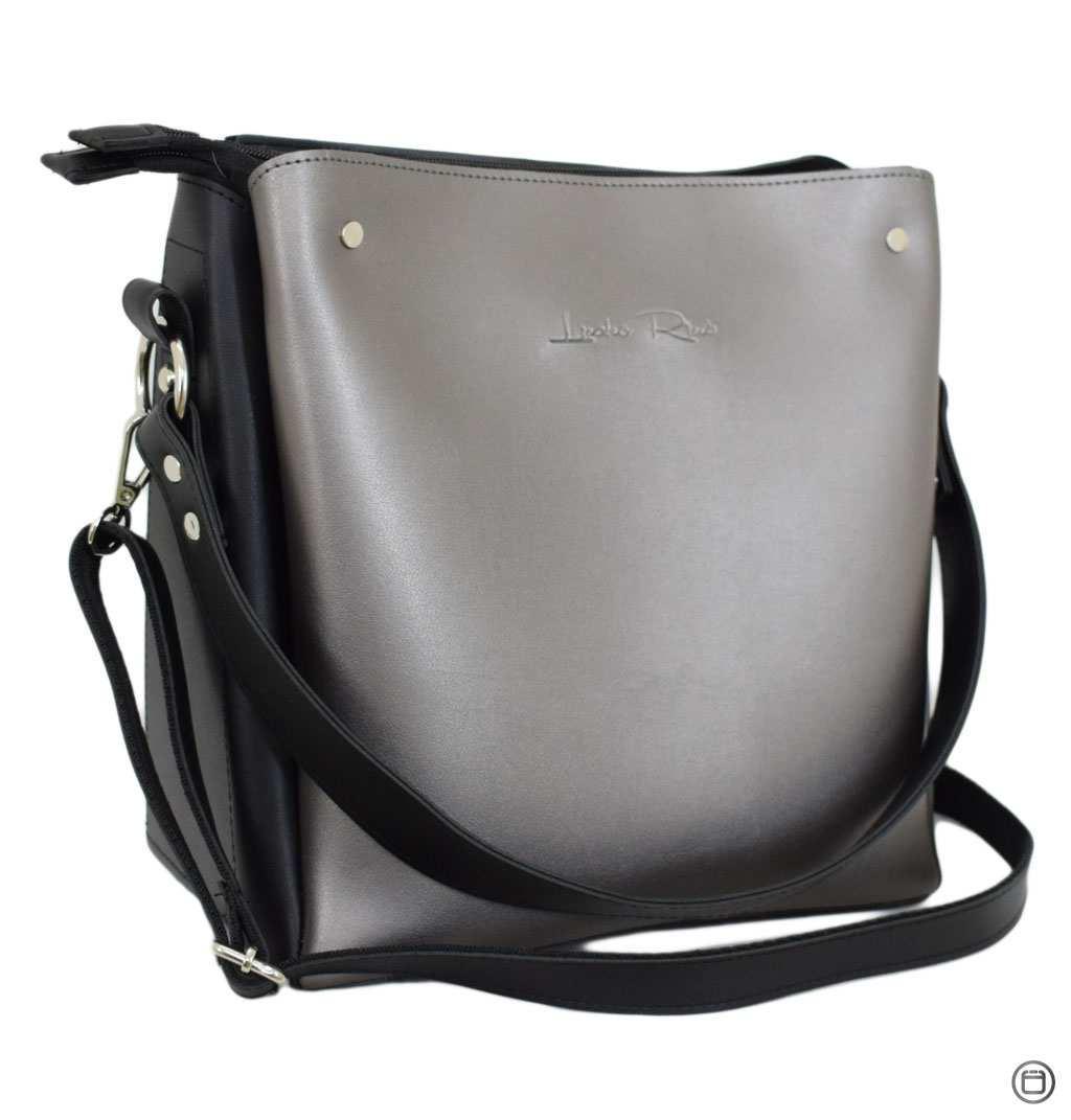 Женская сумка из кожзама Case 612 черная серебряная