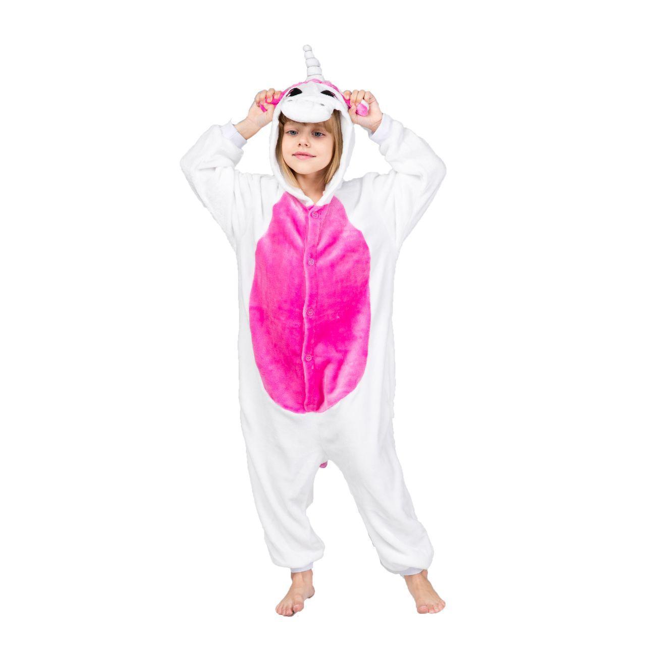 Кигуруми - Бело-розовый Единорог - Одежда для дома - Пижама детская, пижама теплая Premium Velsoft