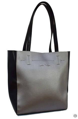 Жіноча сумка-шоппер Україна 518 екокожа срібло чорна, фото 2