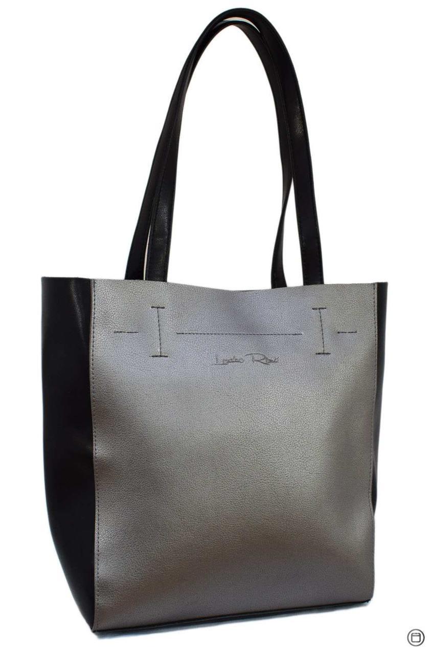 Жіноча сумка-шоппер Україна 518 екокожа срібло чорна