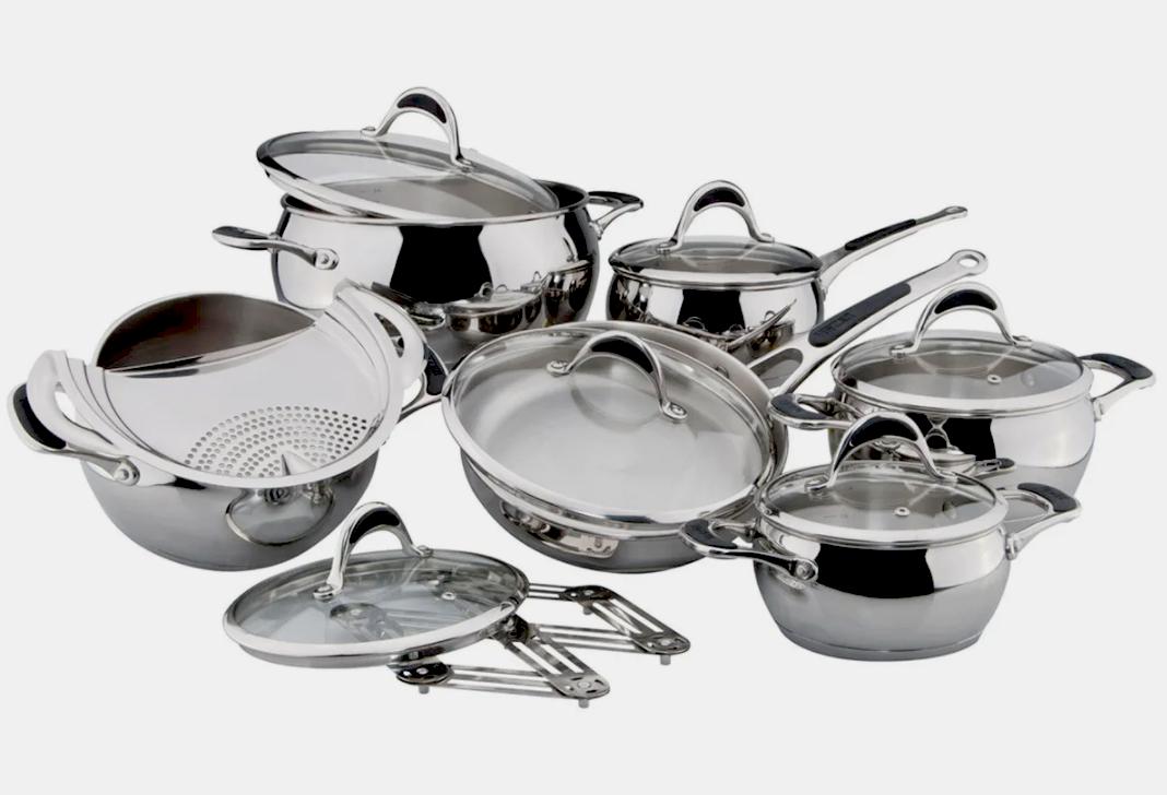Набор посуды Vinzer Stella 89020 (14 пр.) нержавеющая сталь | кастрюля, сковорода, сотейник, сито слива Винзер