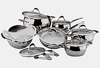 Набор посуды Vinzer Stella 89020 (14 пр.) нержавеющая сталь | кастрюля, сковорода, сотейник, сито слива Винзер, фото 1