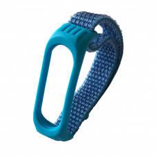 Нейлоновый ремешок для фитнес браслета Xiaomi Mi Band 3 4 Nylon+Silicone Blue Синий, фото 2