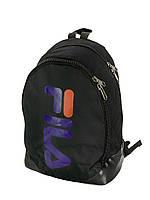 Стильный Школьный молодежный Рюкзак, портфель Fila черный из текстиля для учёбы и города (реплика)