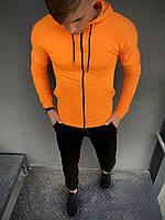 Толстовка оранжевая на молнии с капюшоном, Мужская стильная кофта свитшот из трикотажа, Батник весна-осень