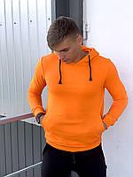 Толстовка худи оранжевая с капюшоном, Мужская стильная кофта свитшот из трикотажа, весна-осень