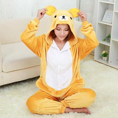 Кигуруми - Желтый медведь  - Одежда для дома - Пижама детская, пижама теплая Premium Velsoft