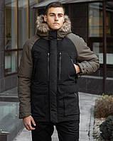 Зимняя мужская парка на флисе, теплая куртка с мехом, черная с хаки
