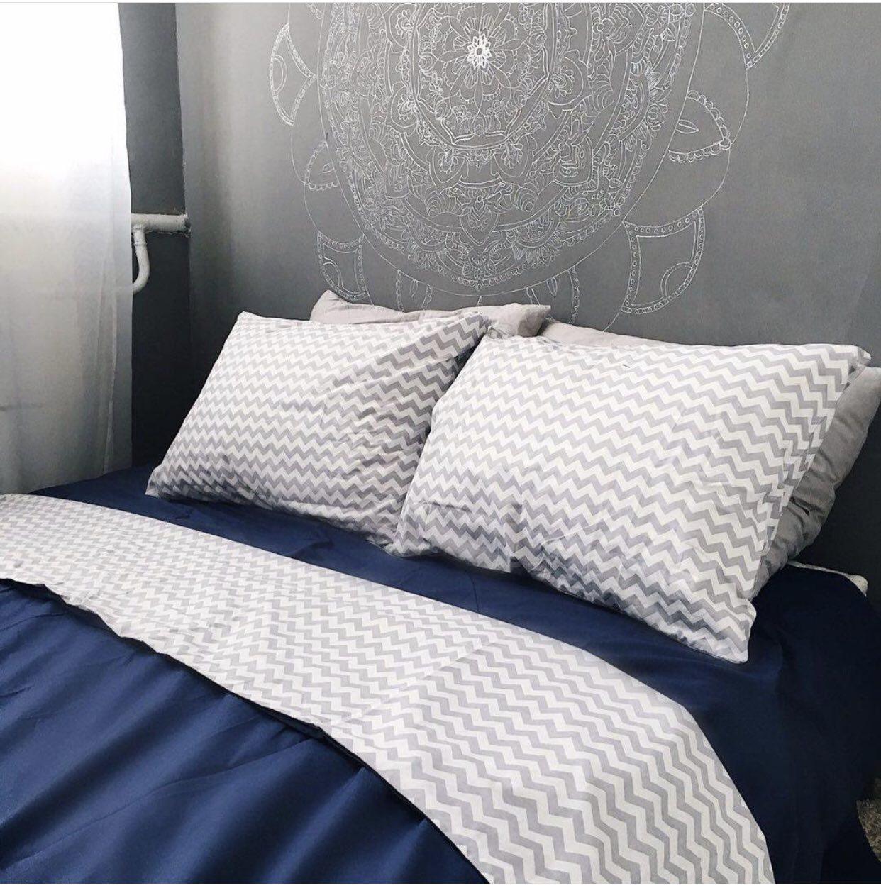 Комплект постельного белья  Бязь GOLD 100% хлопок Сине - серый Зигзаг