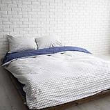 Комплект постельного белья  Бязь GOLD 100% хлопок Сине - серый Зигзаг, фото 2