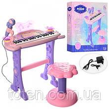 Пианино синтезатор 37 клавиш, на ножках со стульчиком, микрофон, от батареек и от сети 6613