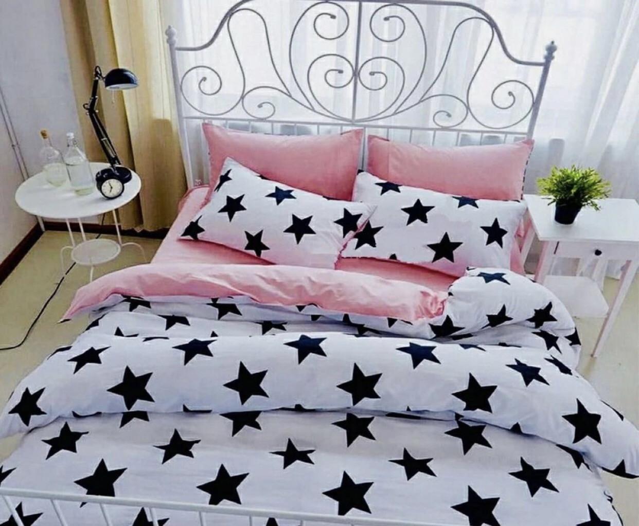 Комплект постельного белья  Бязь GOLD 100% хлопок Черно - белые Звезды