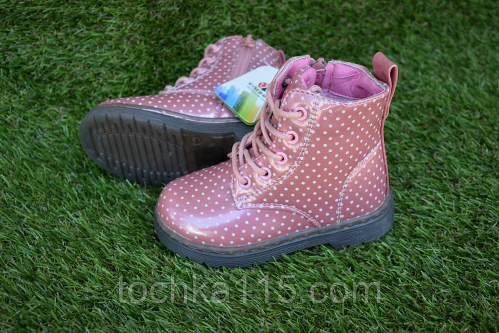 Детские демисезонные ботинки на девочку лаковые розовые р23-28
