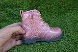 Детские демисезонные ботинки на девочку лаковые розовые р23-28, фото 5