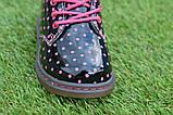 Детские демисезонные лаковые ботинки черные р23-28, фото 5